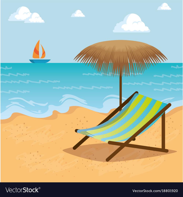 wooden beach chair on a beach landscape design vector image