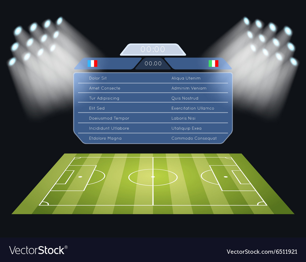 Floodlighting soccer field with scoreboard vector image