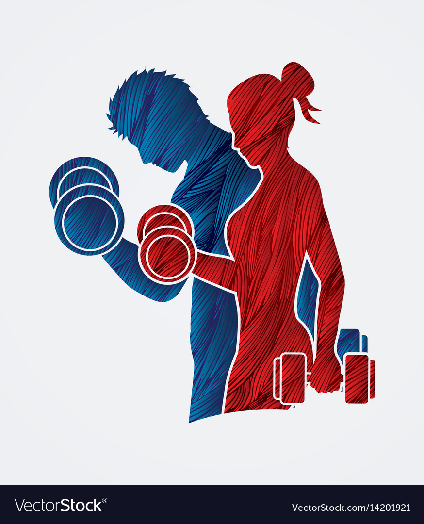 Man and woman exercise with dumbbell vector image