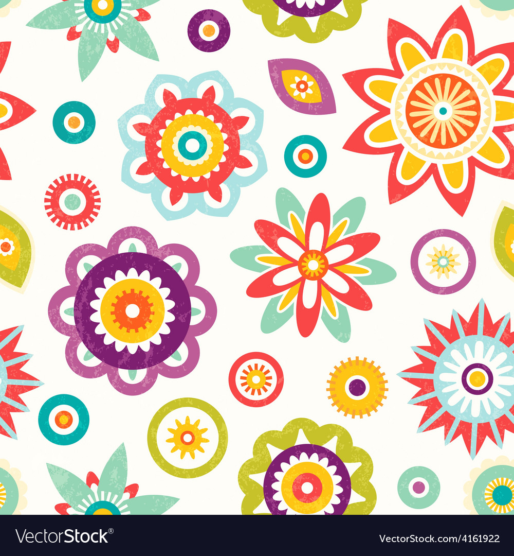 Colorful seamless floral pattern vector image