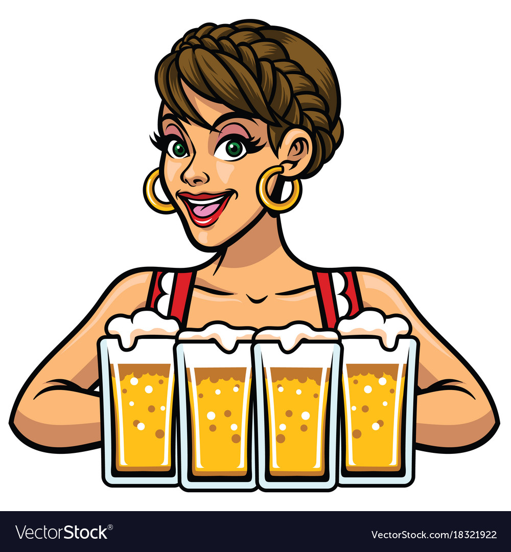 Girl of oktoberfest holding bunch of beers vector image
