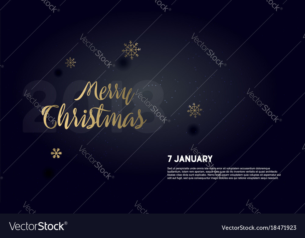 Dark card with green realistic snowflakes vector image