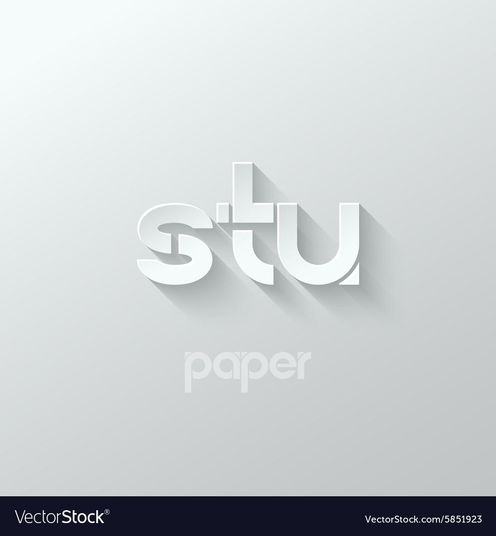 Letter S T U logo alphabet icon paper set vector image