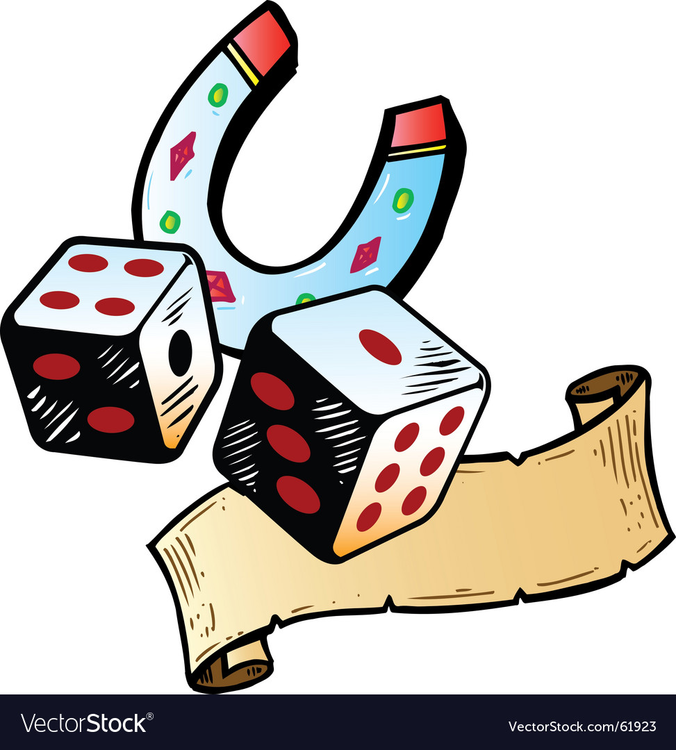 Lucky dice with horseshoe tattoo style illustration.