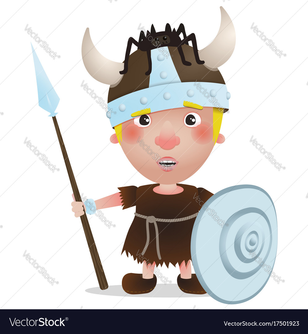Viking have a spider on the hat cartoon character vector image