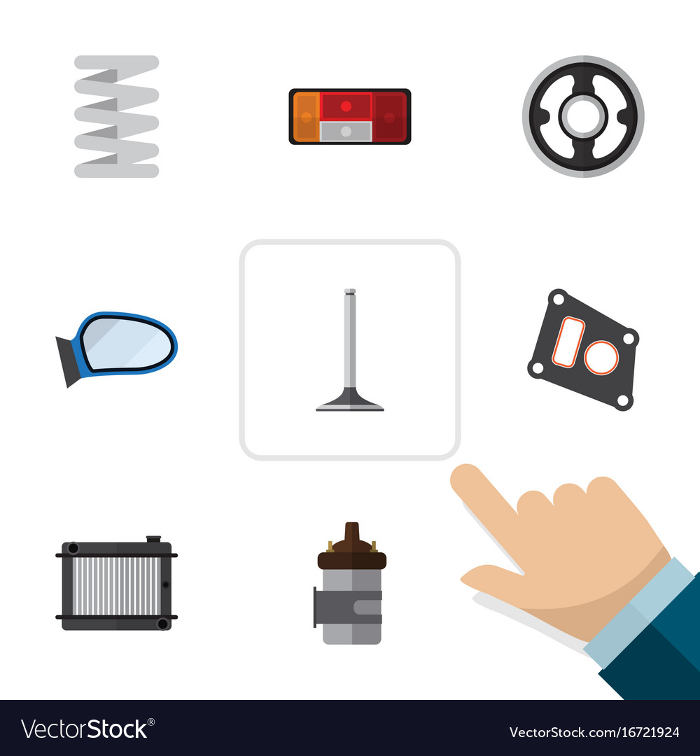 Flat icon component set of crankshaft absorber vector image