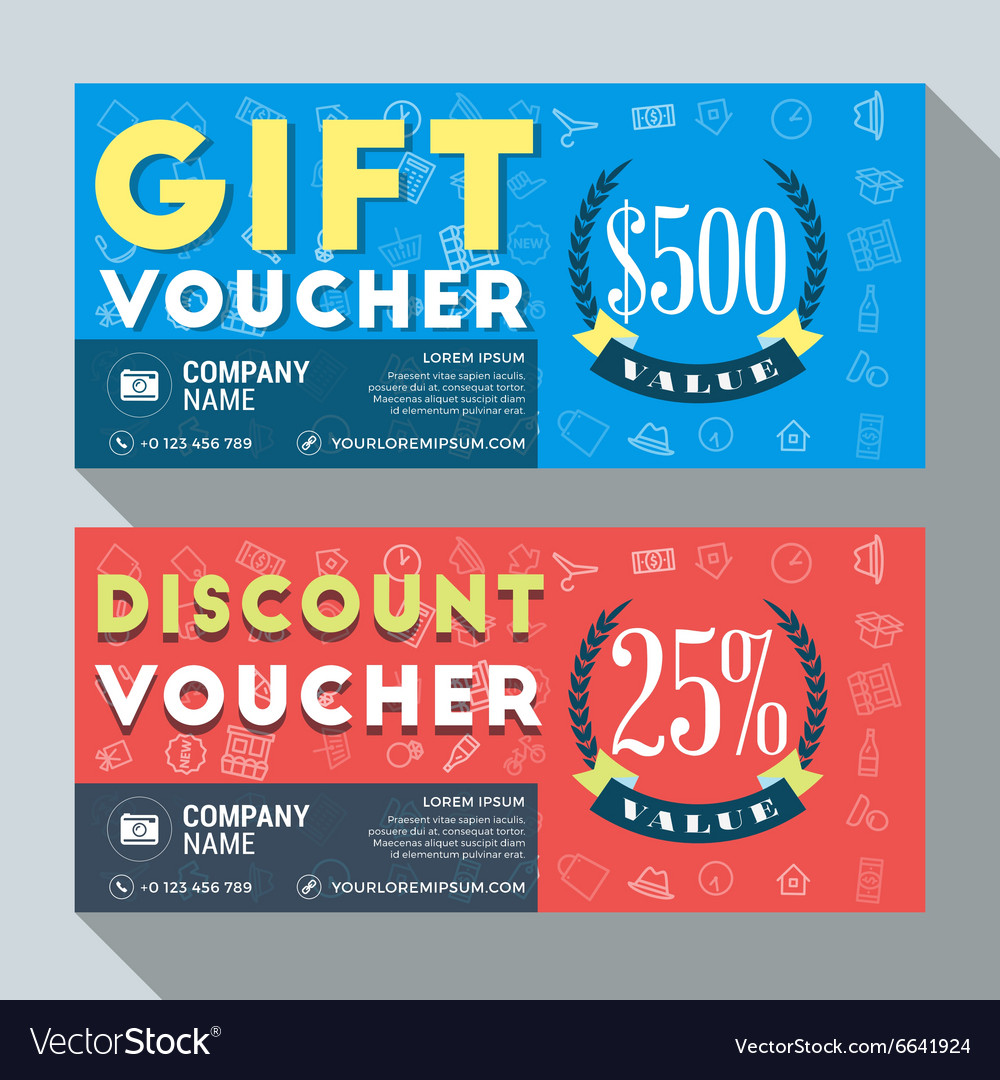 Nice Gift And Discount Voucher Design Print Template Vector Image Intended Discount Voucher Design