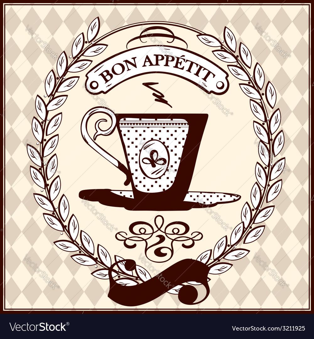 Vintage Coffee Cup Royalty Free Vector Image Vectorstock