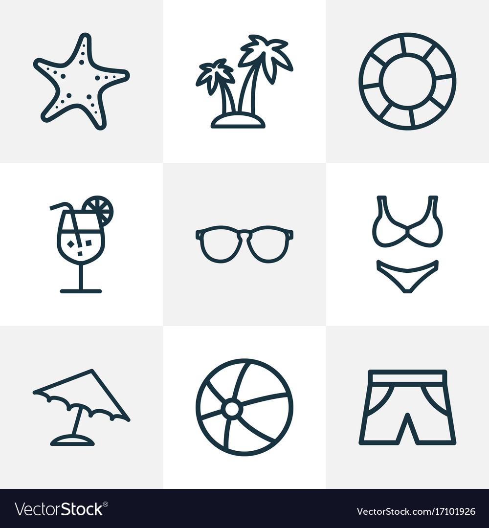 Season outline icons set collection of sea star vector image sciox Gallery