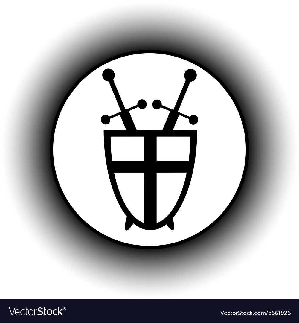 Shield and swords button vector image