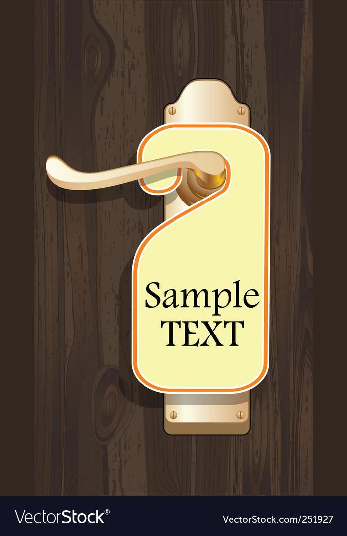 Label on door handle  vector image