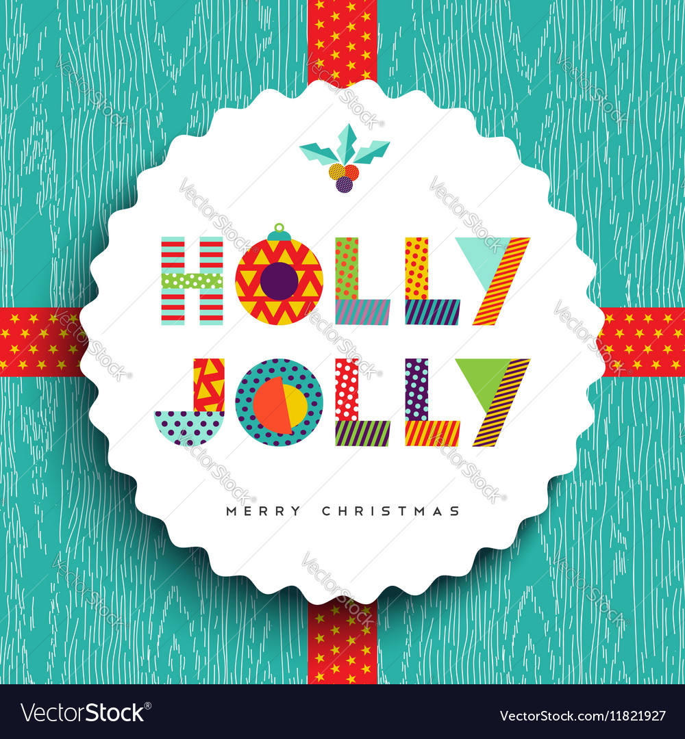 Merry Christmas happy card design in fun colors vector image