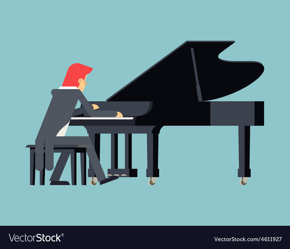 Pianist Piano Player Concept Character Flat Design vector image