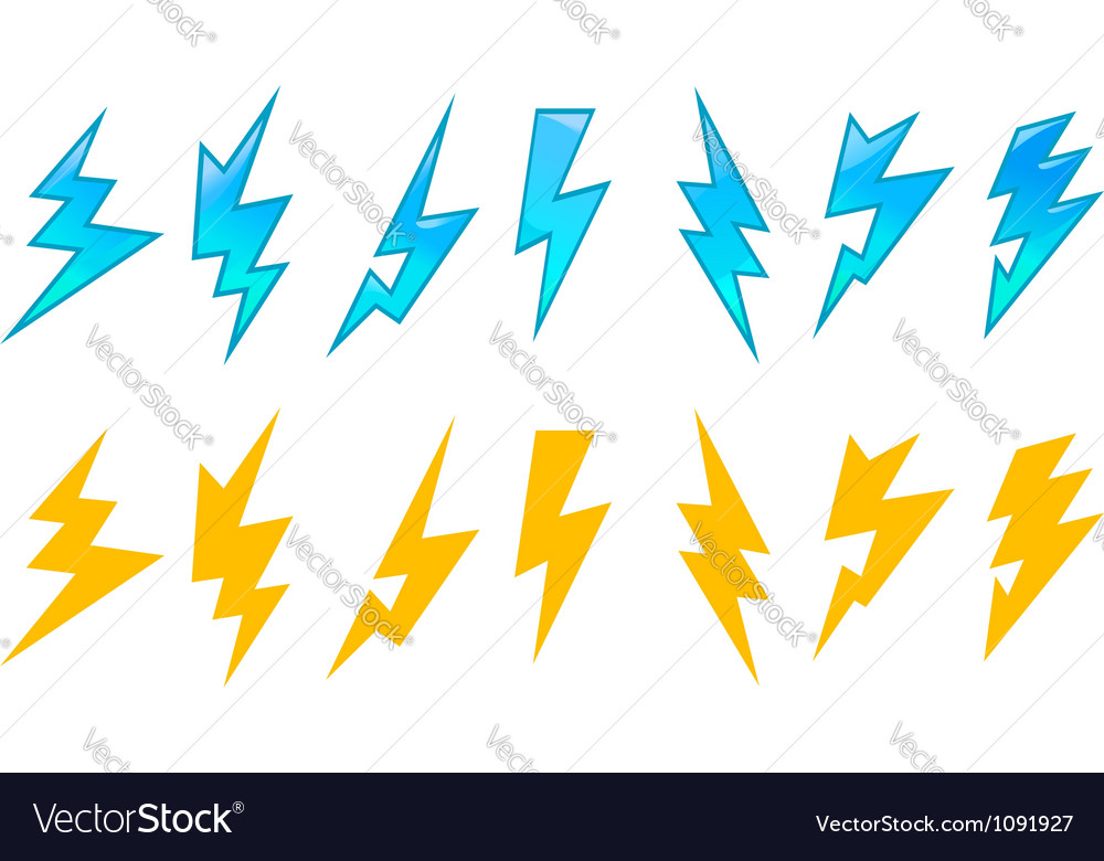 Set of lightning icons vector image