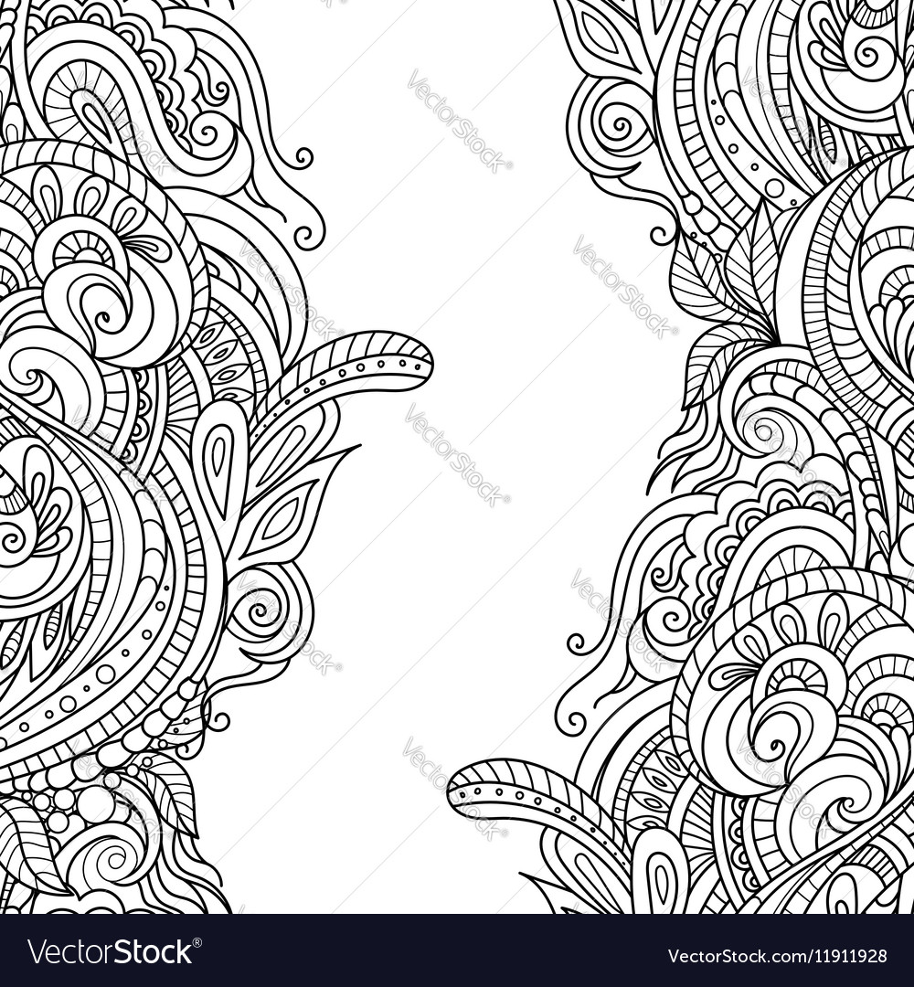 Hand-drawn floral frame vector image