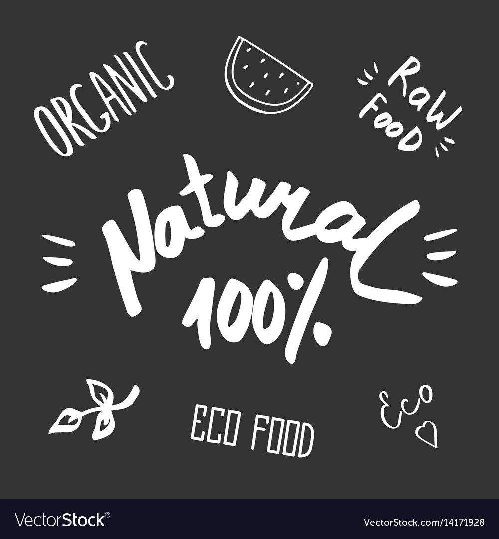Hand drawn healthy food brush lettering organic vector image