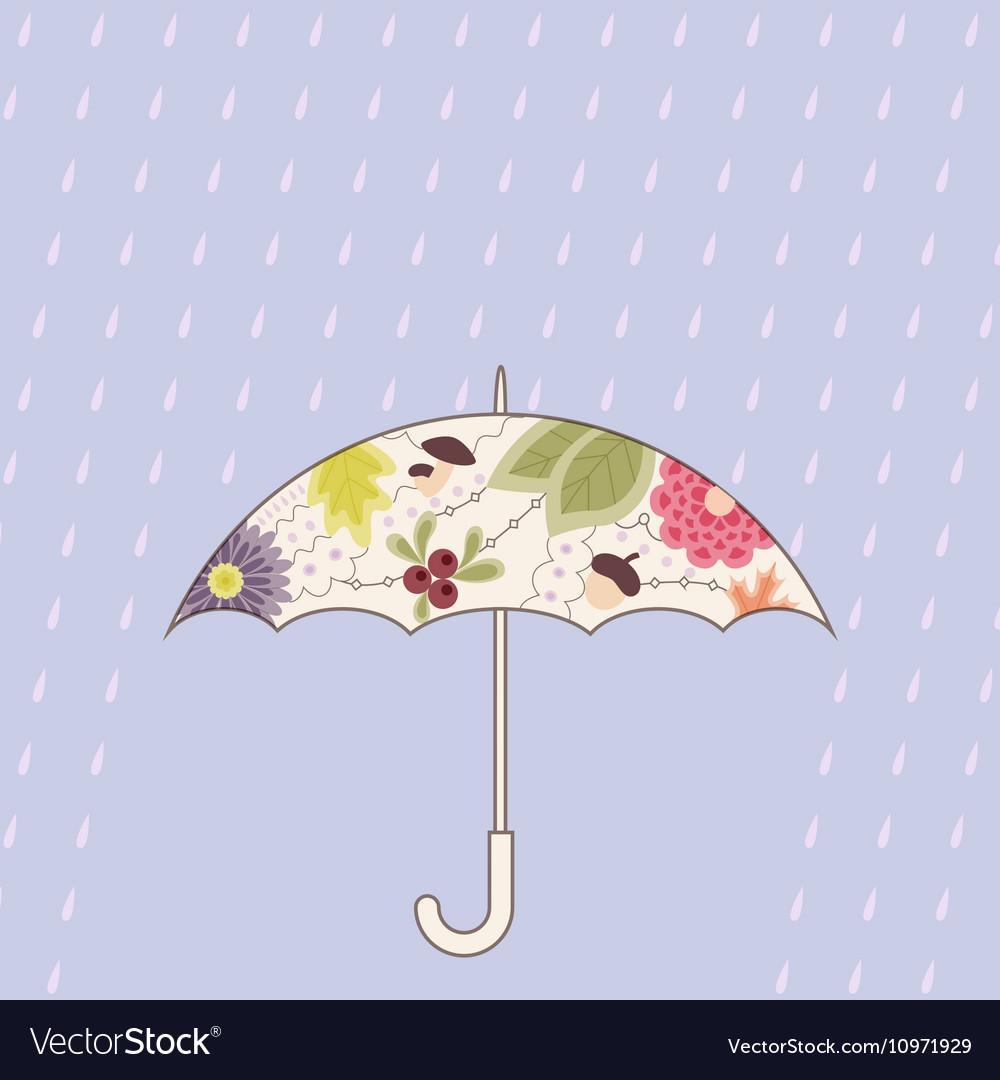 Umbrella and rain vintage vector image