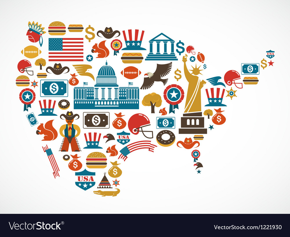 America map with many icons Vector Image