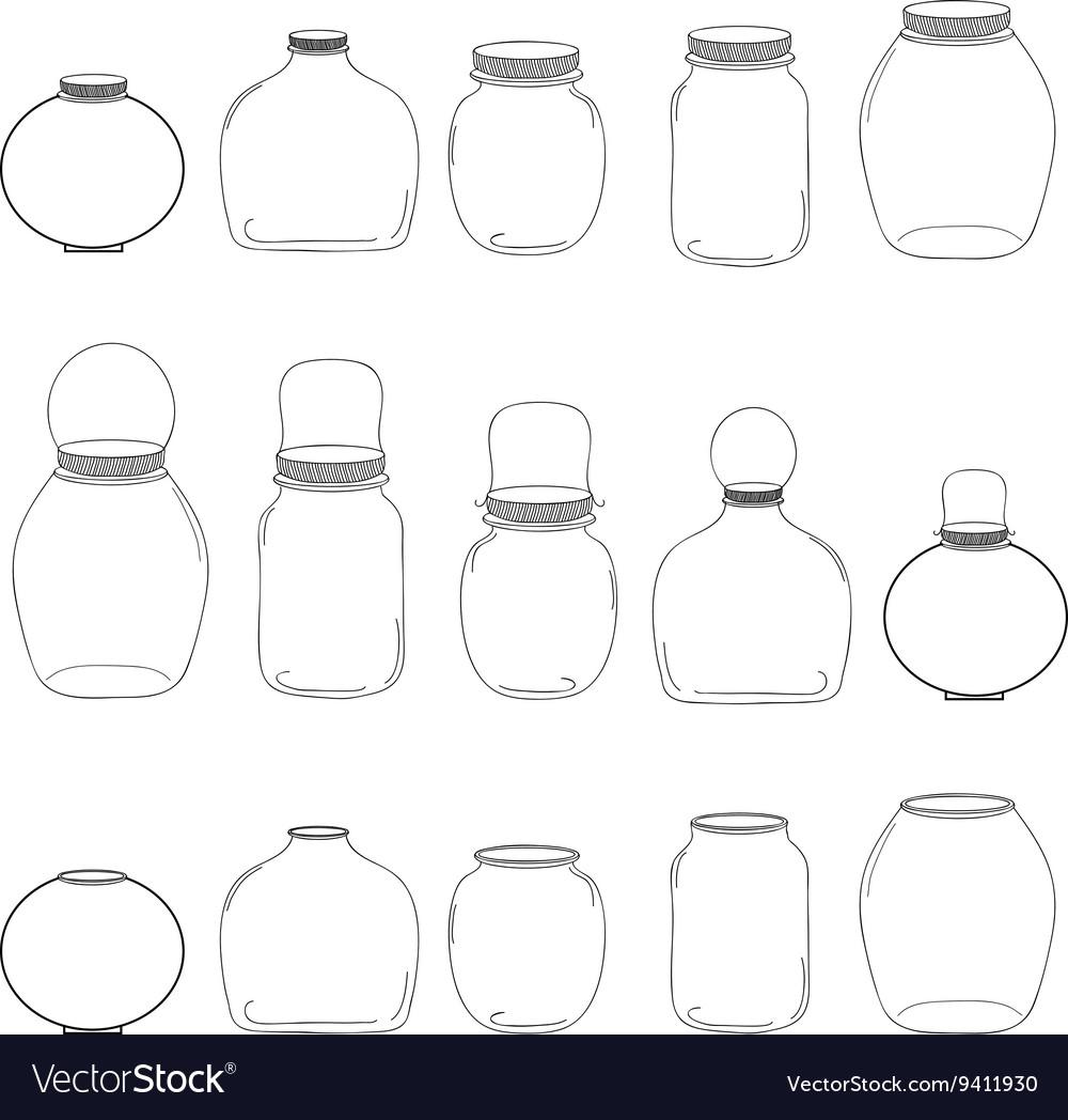 Jars set silhouettes jars vector image