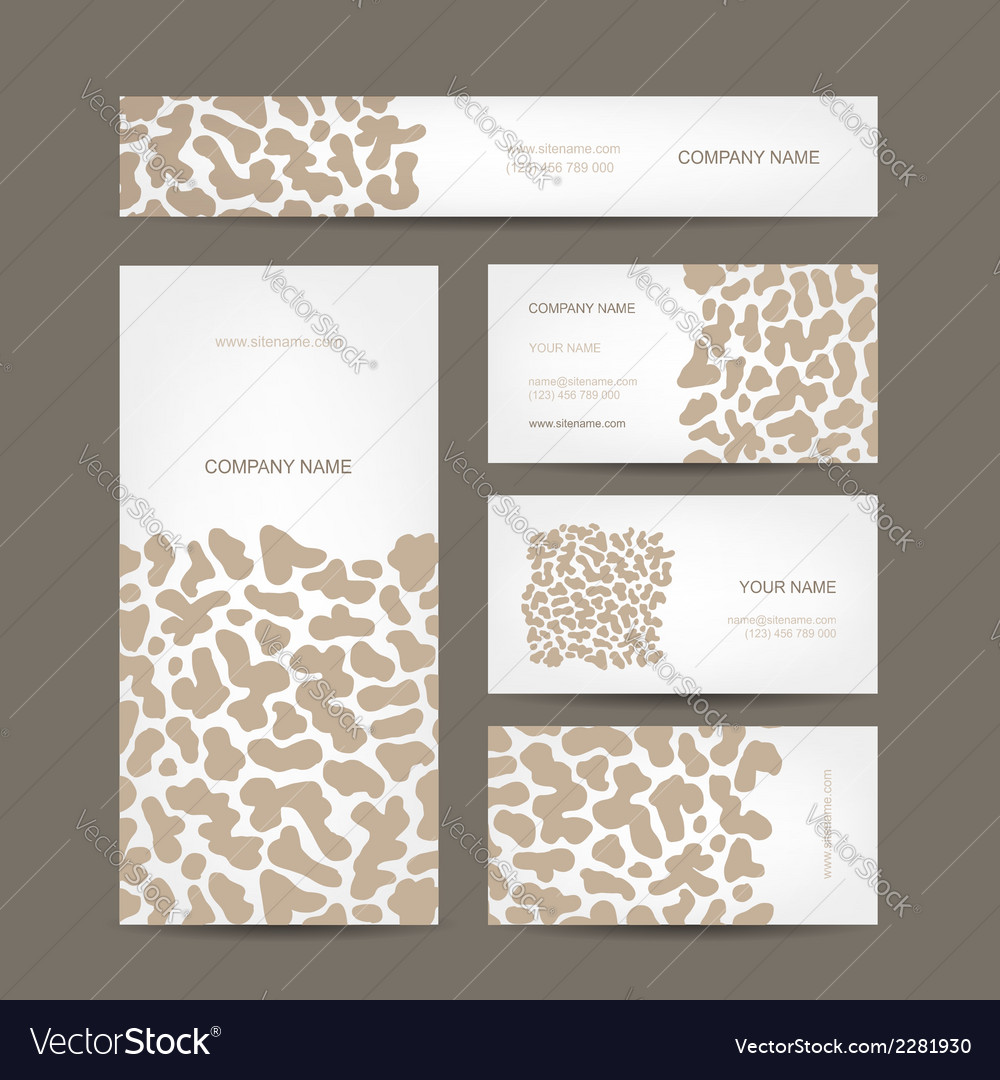 Set of business cards design animal print Vector Image