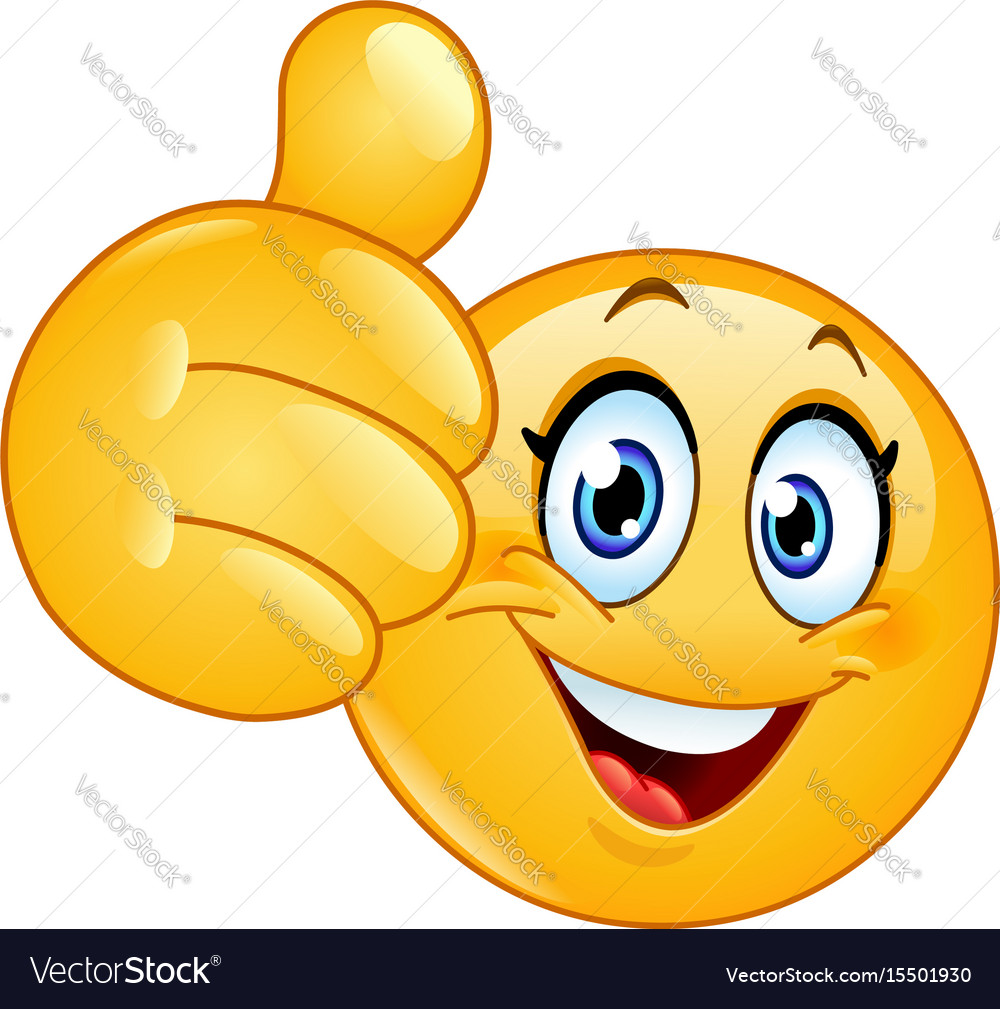 Thumb up female emoticon vector image