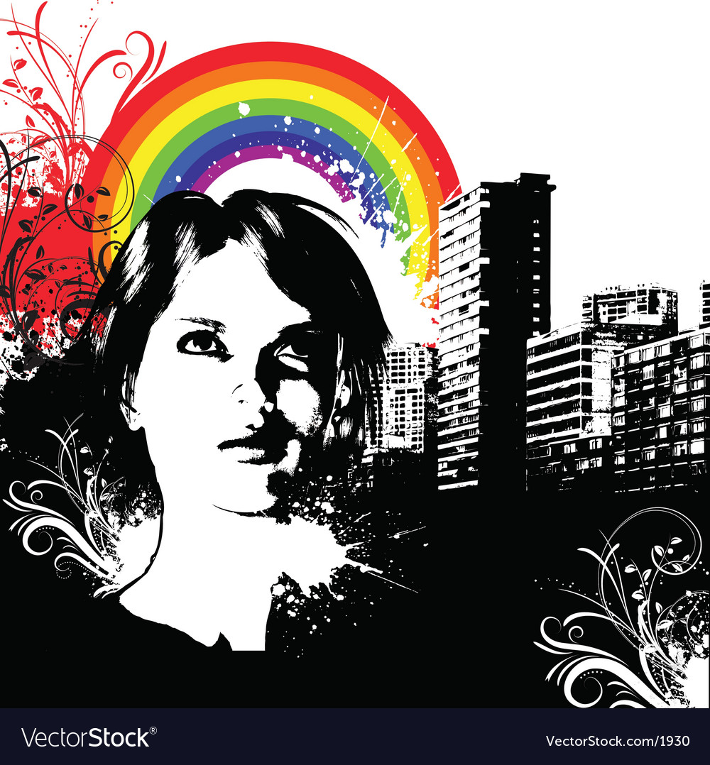 Urban grunge female vector image