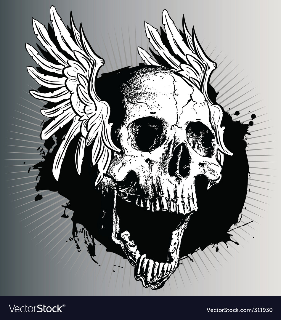 Vector skull with wings vector image