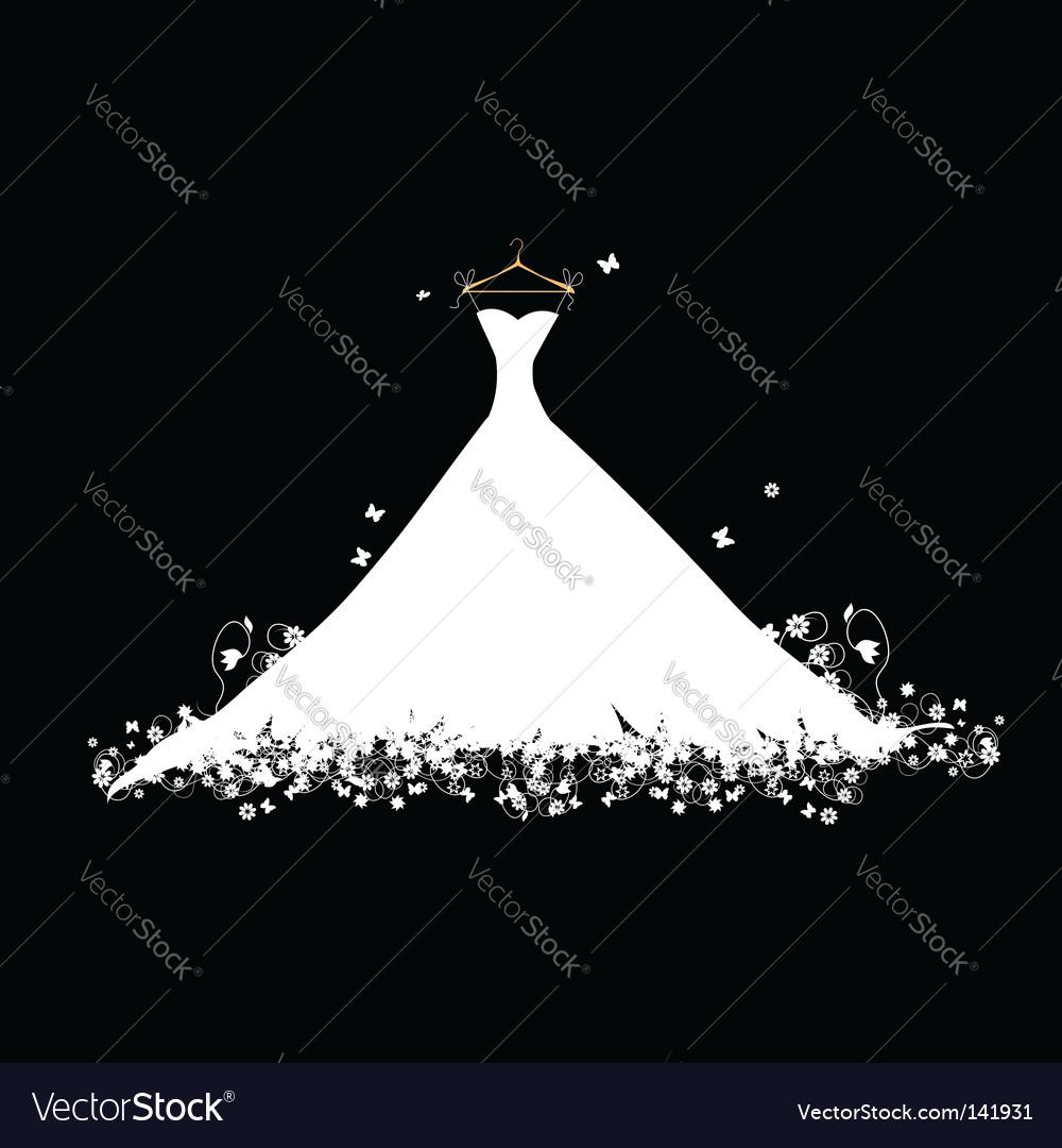 Dress white on hanger illustration Vector Image