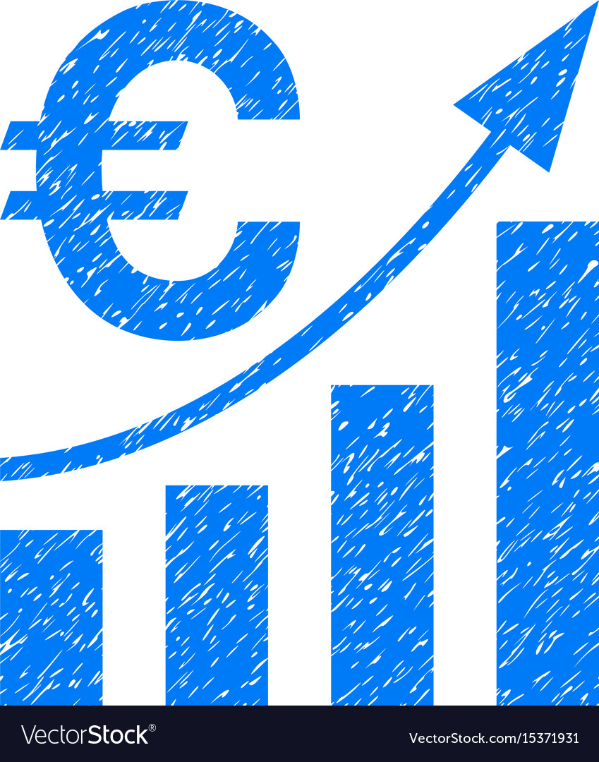 Euro bar chart trend grunge icon vector image