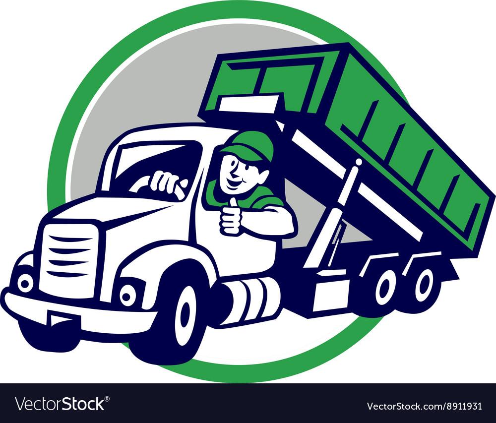 roll off bin truck driver thumbs up circle cartoon