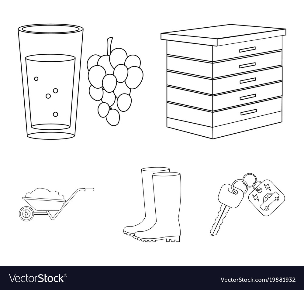 Hive grapes boots wheelbarrowfarm set vector image