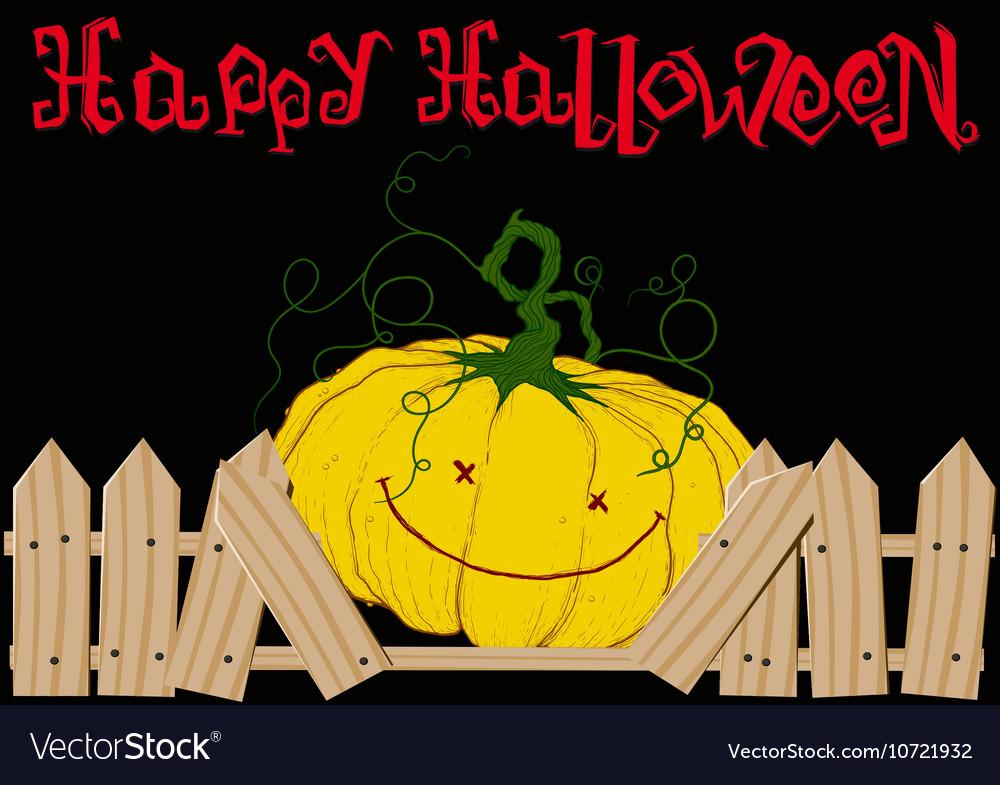 Pumpkin and Broken Fence vector image