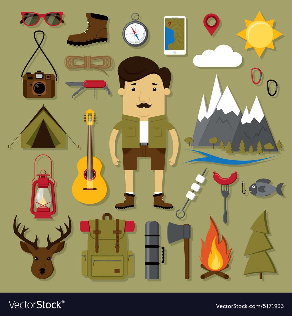 Camping and hiking set vector image