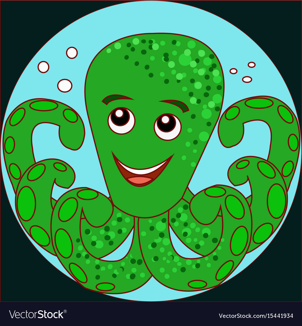 Funny cartoon crab octopus on the blue background vector image