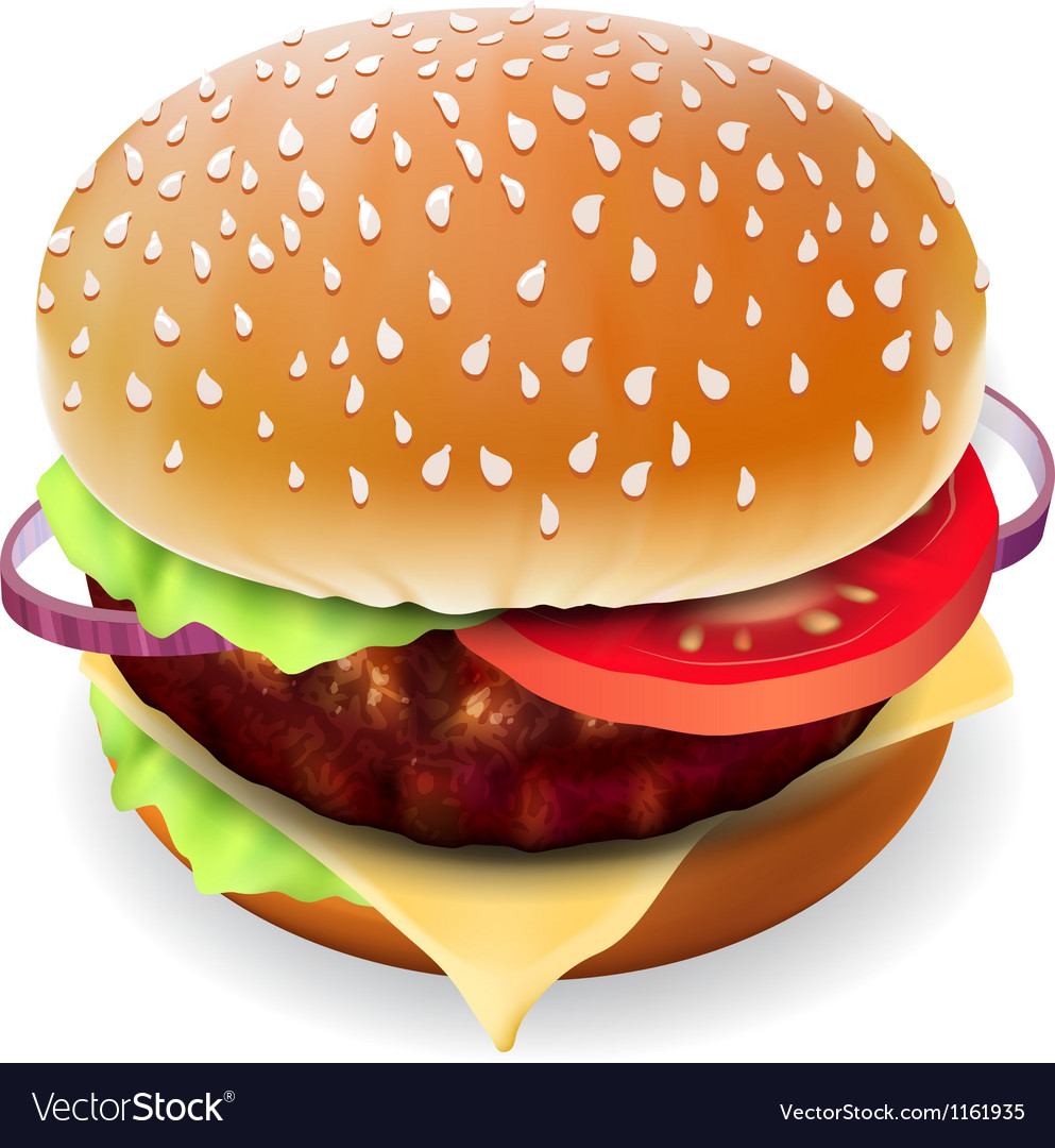 Hamburger with meat vector image