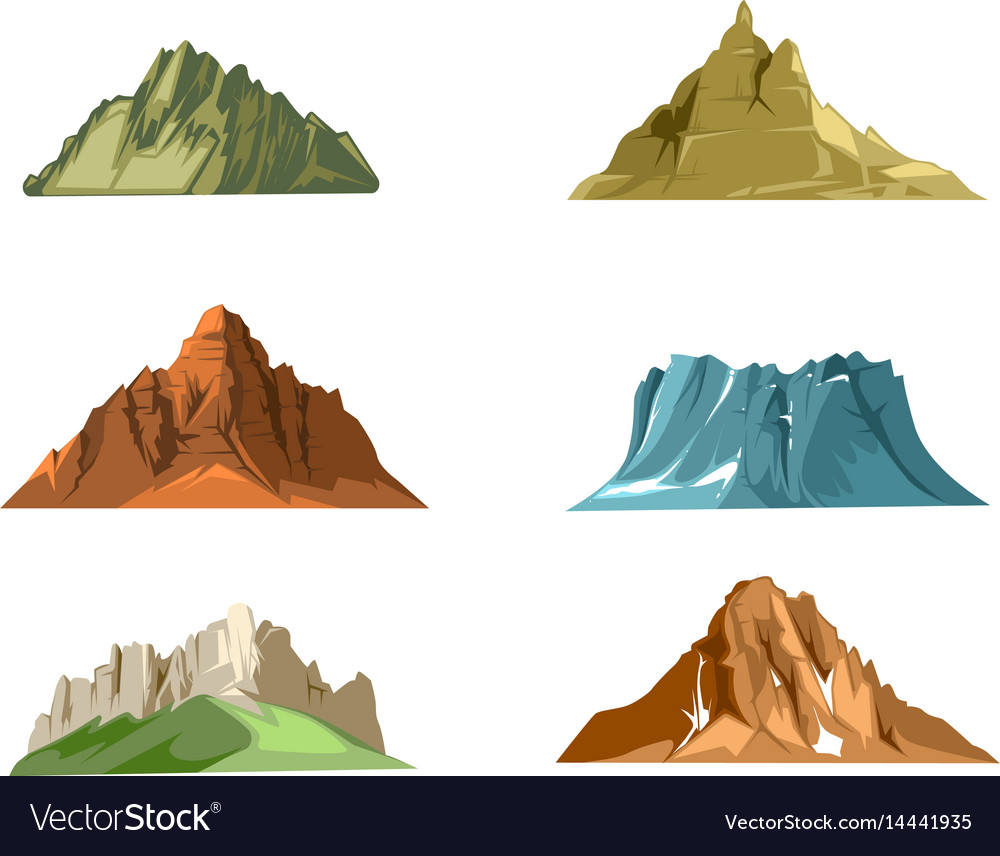 Nature landscapes with green hills and snow vector image