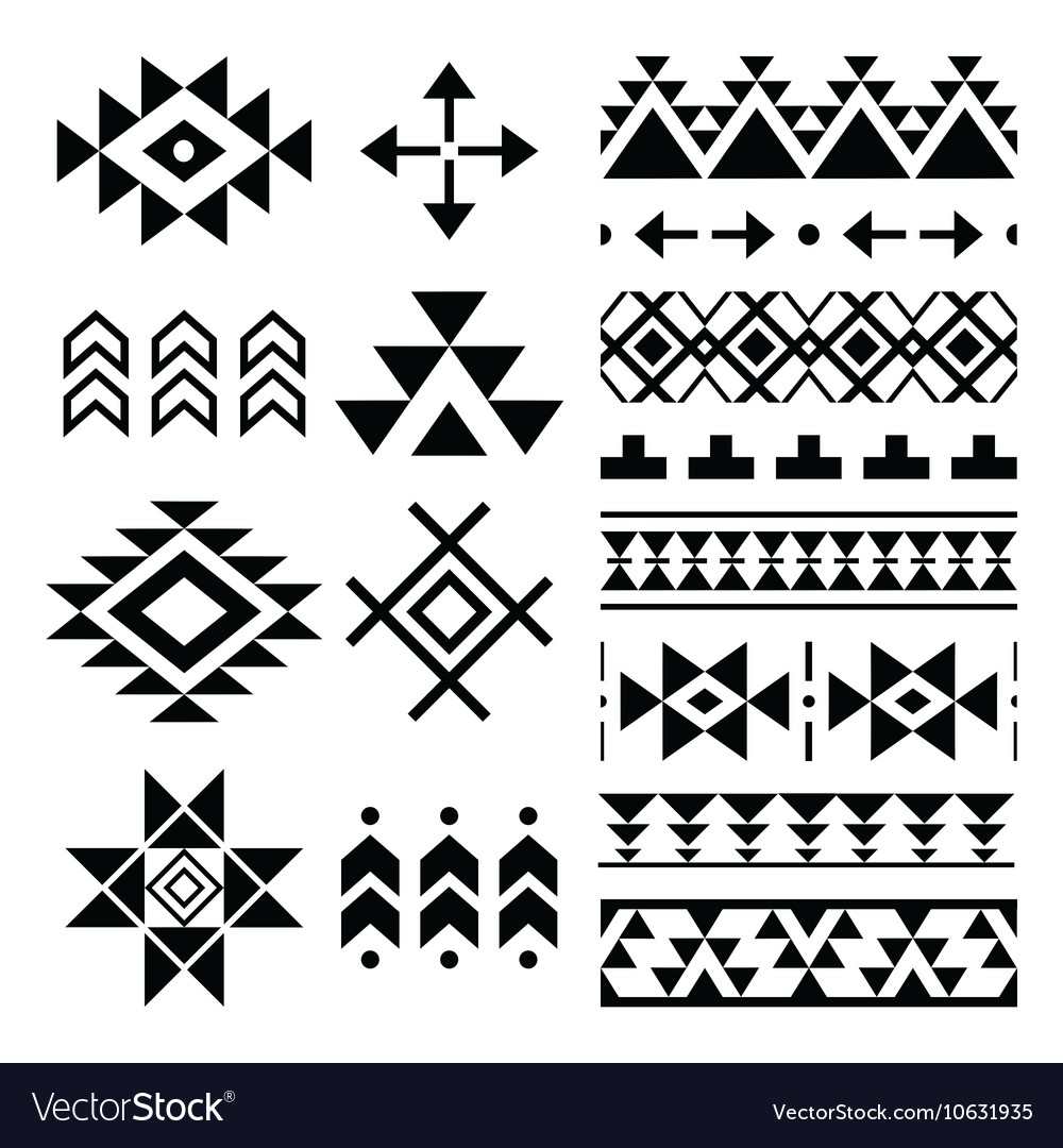 Navajo print Aztec pattern Tribal design element vector image