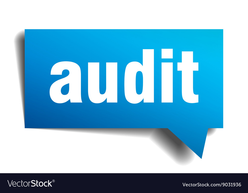 Audit blue 3d realistic paper speech bubble vector image