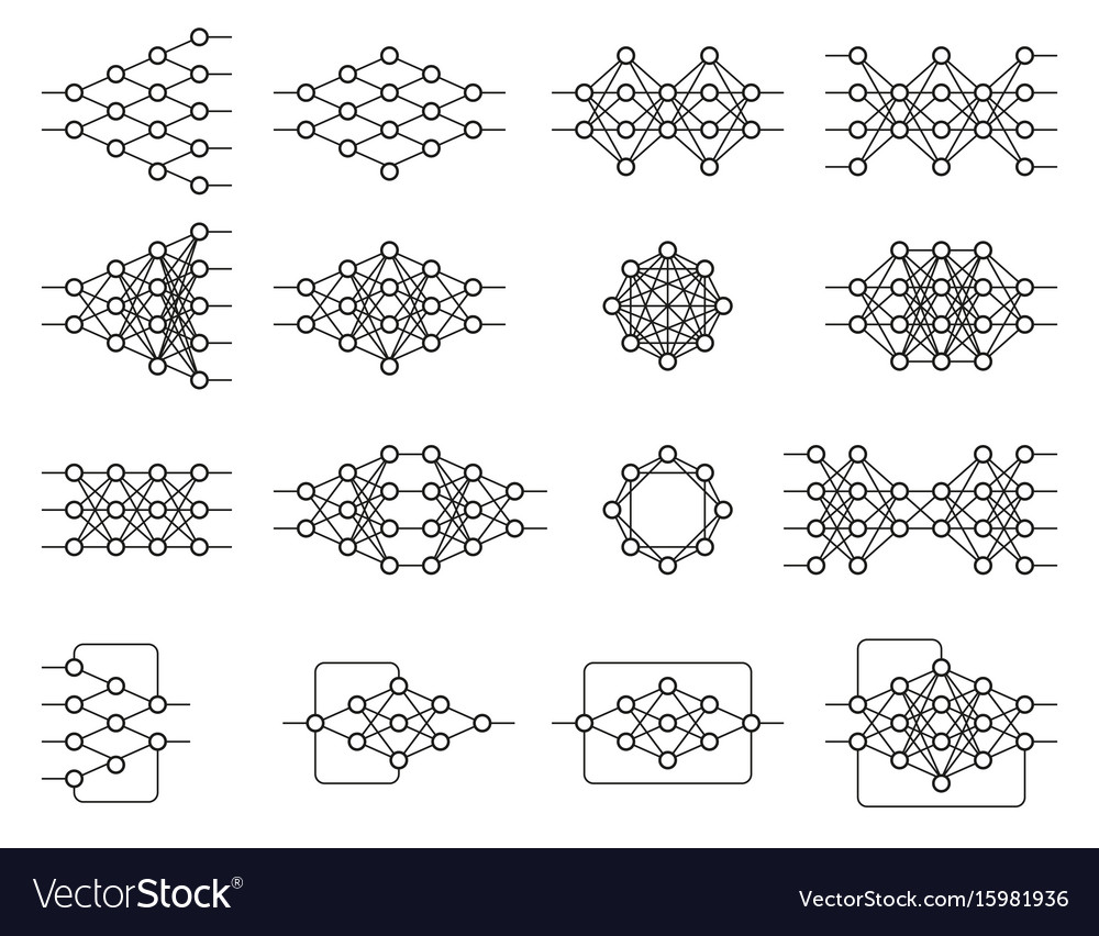 Set of different neural nets neuron network vector image