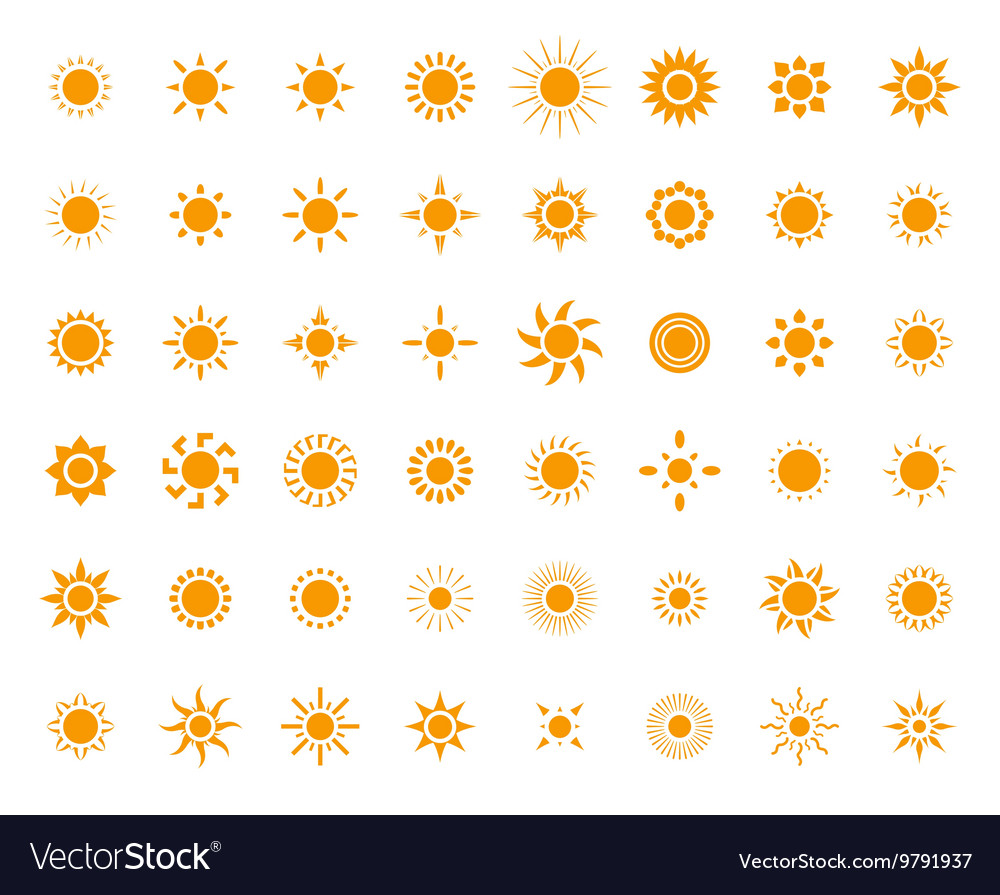 Set of sun images for you design vector image