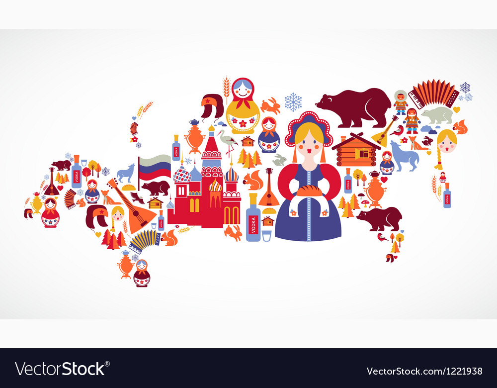 Russia Map With Icons Royalty Free Vector Image - Russia mao