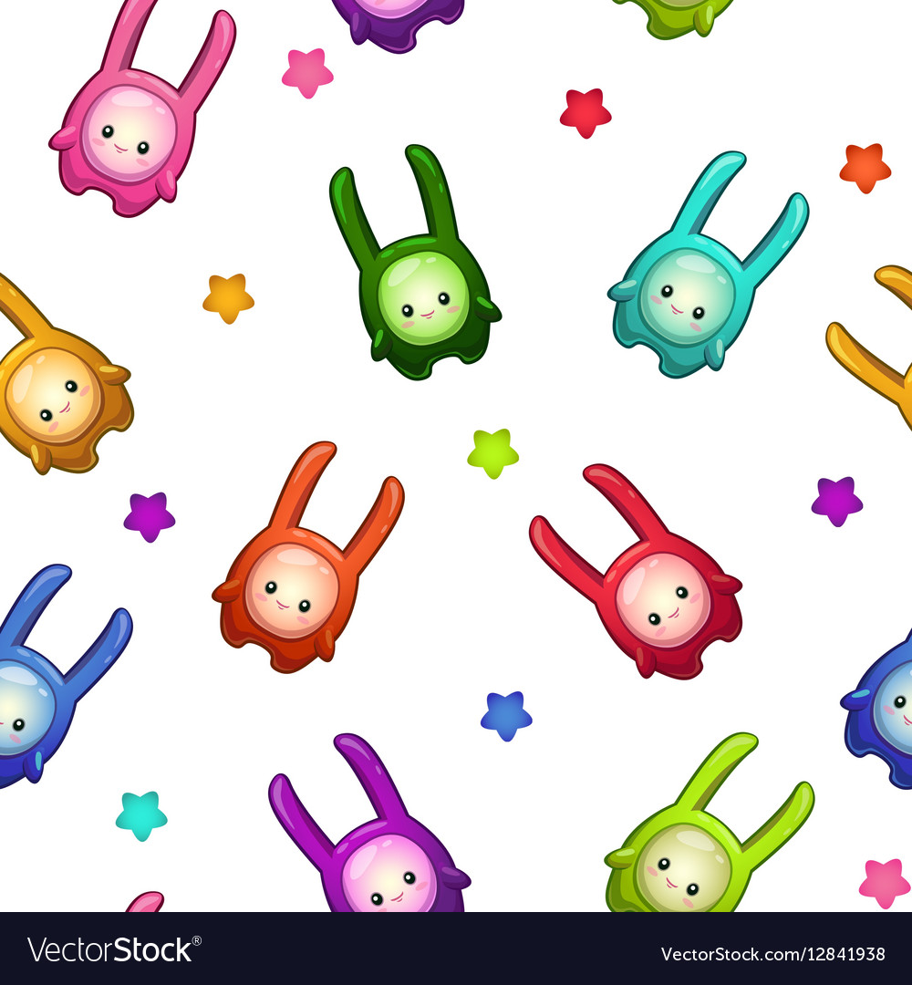 Seamless pattern with cartoon colorful aliens vector image