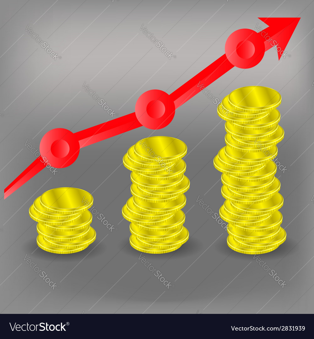 Financial bar chart diagram vector image