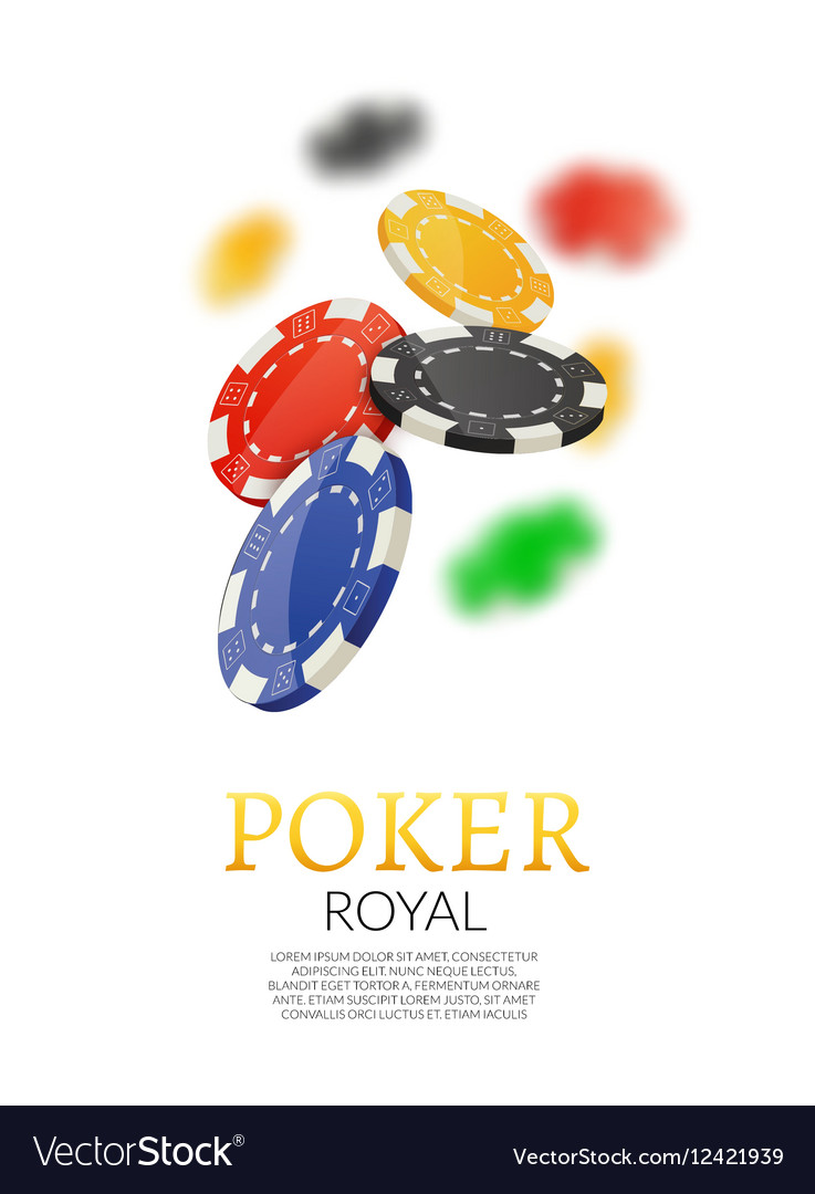 Poker gambling chips poster template Poker game vector image