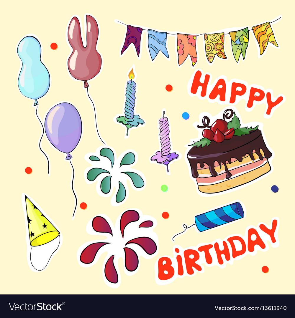 Happy birthday set in cartoon style vector image