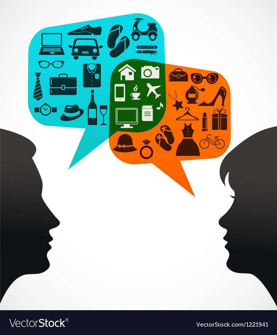 Man and woman with speech bubbles - shopping theme vector image