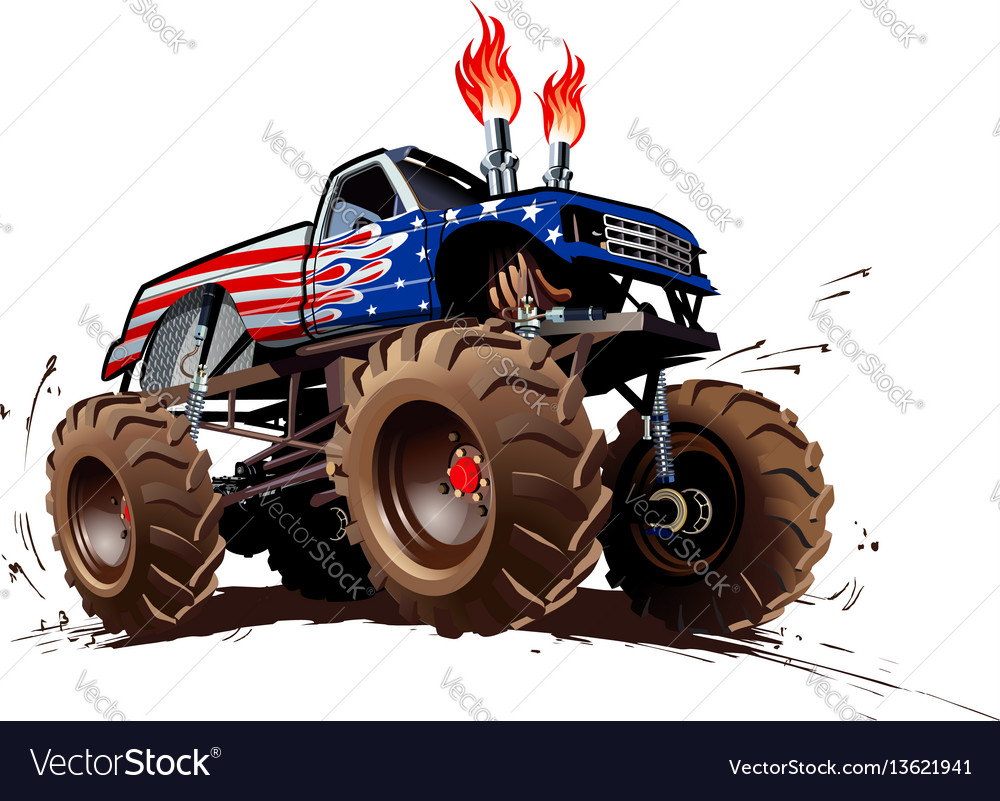 Cartoon Monster Truck Vector on Car Wash Posters Clip Art