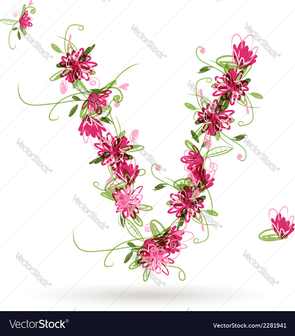Floral letter v for your design royalty free vector image floral letter v for your design vector image altavistaventures Choice Image