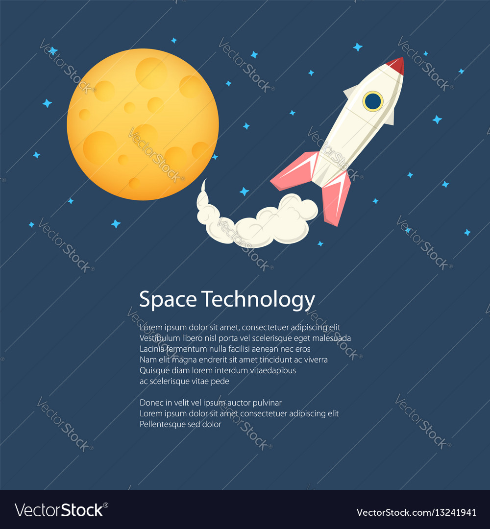Rocket with moon poster brochure vector image