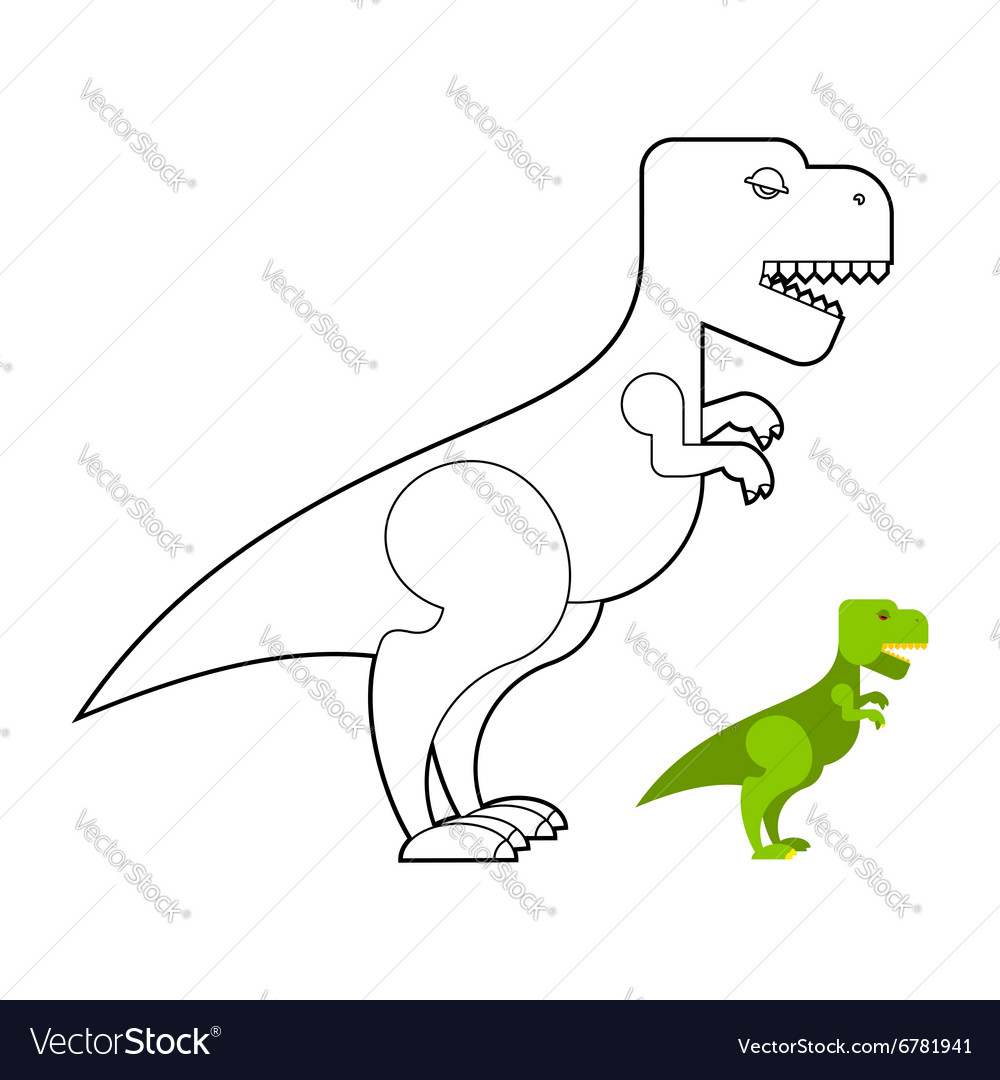 T-rex dinosaur coloring book Scary big Royalty Free Vector